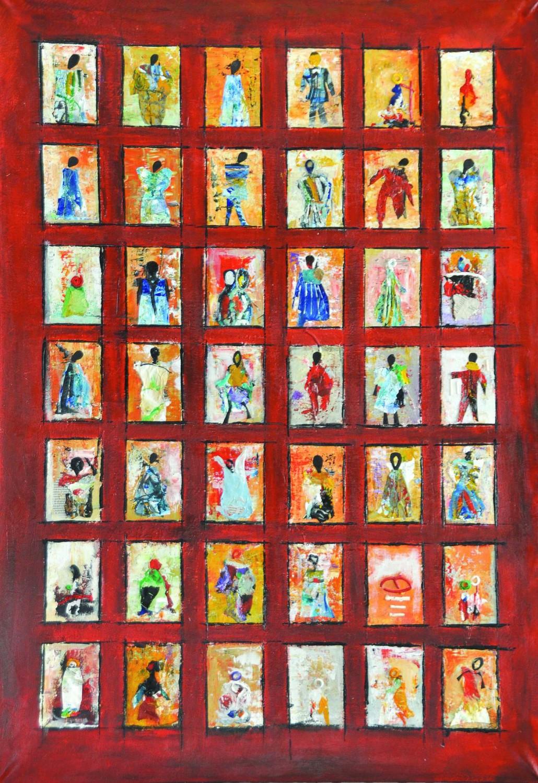 Sans titre, technique mixte, acrylique, encre, collage sur toile, (118x80 cm) - 2015